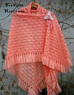 Crochet beautiful and delicate shawl. Free patterns for crochet shawl Poncho Au Crochet, Crochet Shawl Diagram, Mode Crochet, Crochet Shawls And Wraps, Knitted Shawls, Crochet Scarves, Crochet Yarn, Crochet Clothes, Easy Crochet