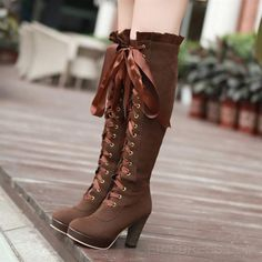 """""""Get on your hands & knees at my feet Mark Shavick!"""" High-heeled martin boots velvet front with high boots korean round waterproof boots women s large size Knee High Heels, Strappy High Heels, High Heel Boots, Heeled Boots, Shoe Boots, Women's Boots, Riding Boots, Gladiator Boots, Prom Heels"""