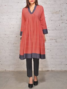 Pink Grey Threadwork Cotton Kurta