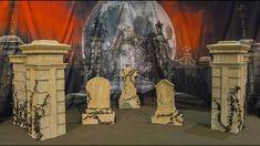 Halloween Cemetery Entrance Columns & Walls | Graveyard Props | Anime Ex...