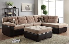 2 pc Layce collection two tone camel champion fabric and espresso leather like vinyl sectional sofa with tufted seat and back