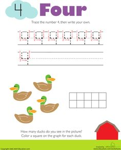 Worksheets: Tracing Numbers & Counting: 4