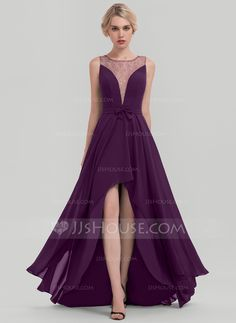 be6ab0e4862e A-Line Princess Scoop Neck Asymmetrical Chiffon Evening Dress With Sequins  Bow(s. Abiti Da Sera Di ...