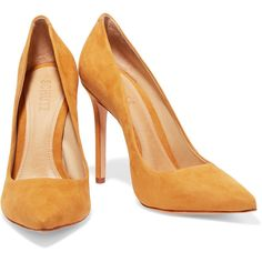 Schutz Gilberta suede pumps (5.240 RUB) ❤ liked on Polyvore featuring shoes, pumps, pointy-toe pumps, yellow pumps, pointed-toe pumps, high heeled footwear and high heel pumps