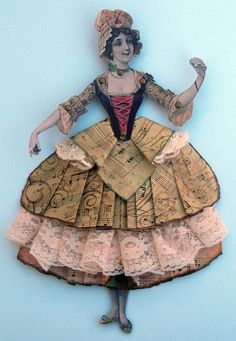 Paper Art Doll,Mixed Media Original Vintage Style,Ruffled lace and Paper skirt - RESERVED