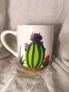 Hand-painted mug, cactus mug, gifts, stocking stuffer (customizable/personalize it) Hand Painted Mugs, Sell Items, Stocking Stuffers, Holiday Gifts, Design Art, Cactus, Diy Crafts, Unique Jewelry, Tableware