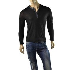 Armani Exchange Sweater Mens A/X Sheer Henley Size S Jumper Shirts NEW Black  | Get Dressed at http://ImageStudio714.com http://stores.ebay.com/ImageStudio714