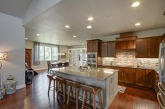 Gorgeous kitchen with stainless steel appliances. Designed and built by Quail Homes of Vancouver Washington.