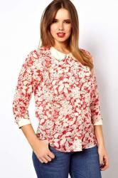 ASOS CURVE Blouse With Curve Collar In Floral Print--- I don't know if I like the shirt or just the hair...