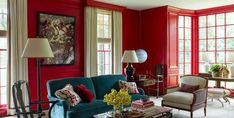 Red wall paint ideas red interior paint colors shades of red paint for kitchen red wall . Cream Paint Colors, Neutral Paint Colors, Best Paint Colors, Interior Paint Colors, Red Paint, Interior Design, Elle Decor, Inviting Home, Red Rooms