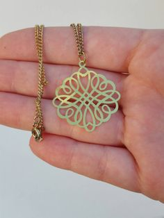 Gaelic design gold necklace on a chain. by MichiDzuila on Etsy