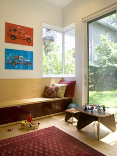 ^>Striking Modern House Architecture with Three Storey: Playful Kids Room Glass Door Somerville Addition Red Carpet*