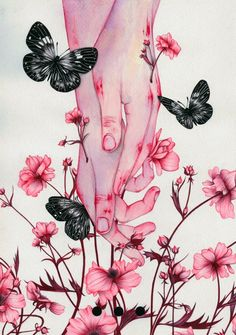 Colored pencil watercolor artwork drawing illustration of hands in pink flowers and butterflies Art And Illustration, Landscape Illustration, Anime Kunst, Anime Art, Art Sketches, Art Drawings, Hand Kunst, Art Noir, Hand Art