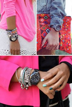 love the colors of her nails. Layering of bracelets never hurts either.