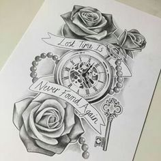 "Képtalálat a következőre: ""clock tattoo designs"" Watch Tattoos, Time Tattoos, New Tattoos, Body Art Tattoos, Tattoos For Guys, Time Piece Tattoo, Clock Tattoo Design, Tattoo Design Drawings, Tattoo Clock"