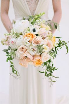 peach and white bridal bouquet by Utah Events by Design