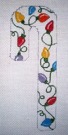 Handpainted Candy Cane Holiday Lights Orn Needlepoint by colors1 (Craft Supplies & Tools, Sewing & Needlecraft Supplies, Canvas & Stitchables, ornament, holidays, christmas, pattern, cross stitch, embroidery, candy cane, string Of lights, lights, needlepoint, needlepoint canvas, needlepoint ornament, needlecraft)