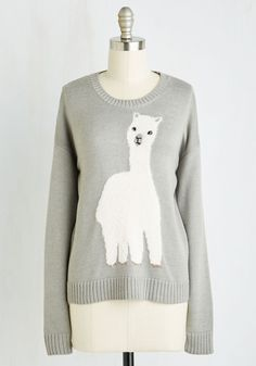 Alpaca to Omega Sweater. This fuzzy alpaca sweater is the beginning and end of adorable style! #grey #modcloth