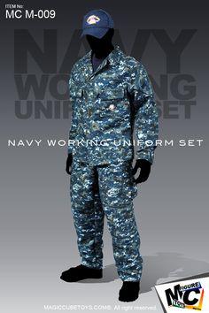 "Current-issue USN Working Uniform (NWU) set by MC Toys...aka ""Blueberries,"" ""Aquaflage"""