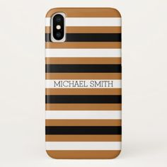 Black White Copper Modern Stripes iPhone X Case - black gifts unique cool diy customize personalize