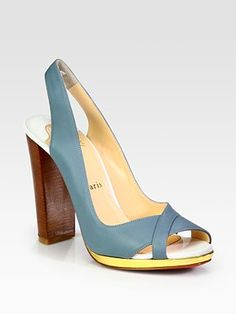 Christian Louboutin  Morphea Leather and Metallic Leather Colorblock Slingback Sandals