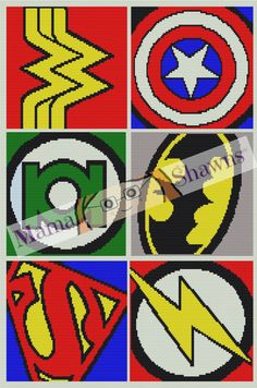 Super Hero Symbols Inspired, Graphghan, Written Pattern, Crochet Pattern, Word Chart, PDF Download, Fan Art, Batman, Wonder Woman, Superman by MamaShawns on Etsy