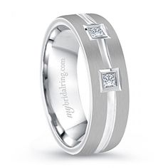 Buy with confidence. Find, Compare and Review for beautifully crafted polished diamonds in 14k white gold or 18k white gold. Price: $1,399.99 - http://www.mybridalring.com/Mens/flat-diamond-wedding-band-in-white-gold/