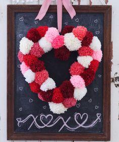 Heart-Shaped Pom-Pom Wreath