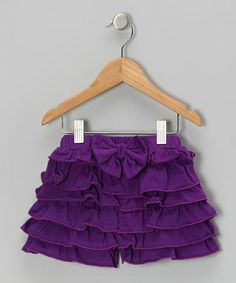 Take a look at this Dark Purple Ruffle Bow Organic Shorts - Infant, Toddler & Girls by violet + moss on #zulily today!