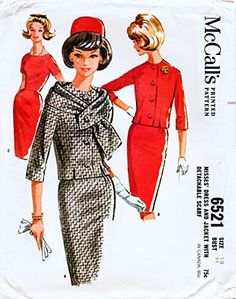 McCall's 6521 Vintage Sewing Pattern, Misses Dress and Jacket with Detachable Scarf, Check offers for Size Retro Mode, Vintage Mode, Vintage Outfits, Vintage Dresses, 1960s Dresses, 1960s Fashion, Vintage Fashion, Patron Vintage, Mccalls Patterns