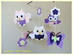 Felt Baby Crib Mobile Owl family play with by hingmade on Etsy on Wanelo