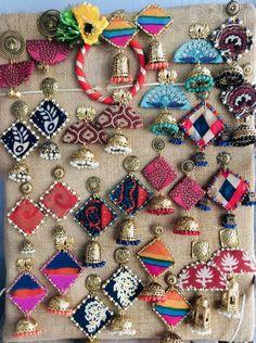 Diy Fabric Jewellery, Fabric Earrings, Handmade Wire Jewelry, Thread Jewellery, Beaded Jewelry Patterns, Handmade Jewelry Designs, Textile Jewelry, Diy Earrings, Textiles