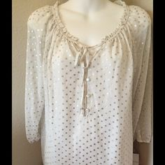NWT Liz Claiborne Blouse PM beautiful cream and silver polka dot blouse has tank shirt under and 3/4 sleeve Size PM Bloomsbury Liz Claiborne Tops Blouses