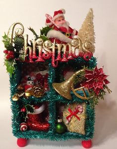 Christmas Shadowbox Diorama with Vintage Flocked by ThePokeyPoodle