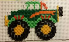 Monster Truck hama perler beads by Line Fuse Bead Patterns, Perler Patterns, Beading Patterns, Fuse Beads, Pearler Beads, Toddler Crafts, Crafts For Kids, Monster Trucks, Seed Bead Crafts