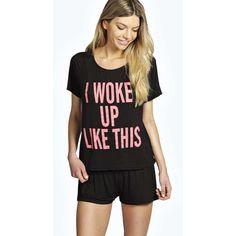 Boohoo Rae I Woke Up Like This Crop Tee & Short Set ($14) ❤ liked on Polyvore featuring intimates, sleepwear, pajamas, black, black pajamas, short pajama set, short pajamas and short sleepwear