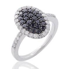 #Malakan #Jewelry - Silver Black Velvet Diamond Ladies Fashion Ring 71192C3 #BlackVelvetDiamond #BlackVelvetDiamonds