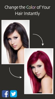 """Hair Color Booth-Ever thought about changing your hair color but worry that it won't look good? Yeah, I feel that. But with the Hair Color Booth app you can upload a picture of yourself and """"try out"""" different hair colors, for free. If nothing else, it's hella fun and probably better than stalking your ex on social media."""