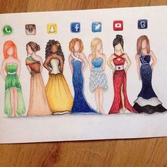 """""""Awesome social media dress artwork by the artist Amazing Drawings, Love Drawings, Beautiful Drawings, Amazing Art, Drawings Of Dresses, Dresses Art, Beautiful Images, App Drawings, Drawing Sketches"""