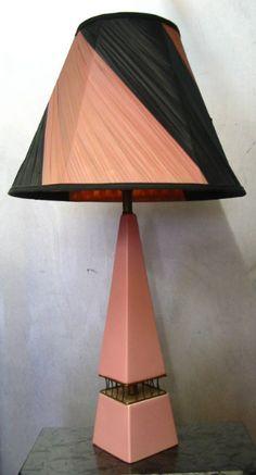 1950s pink & black ceramic lamp