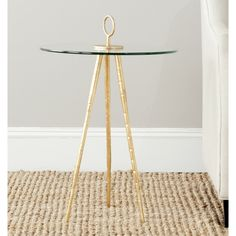 Safavieh Treasures Delma Gold/ Glass Top Accent Table | Overstock™ Shopping - Great Deals on Safavieh Coffee, Sofa & End Tables