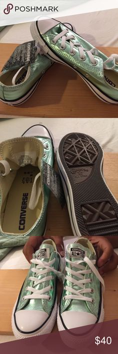 38cb2a6cae67 Converse NWOT Brand New Never Worn but without box Low top metallic seafoam  green Chuck Taylor