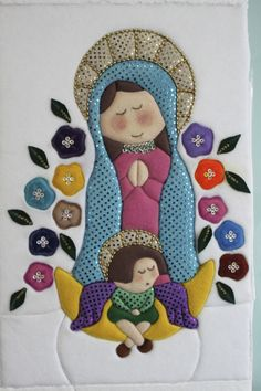 PATCHWORK SIN AGUJA VIRGEN DE GUADALUPE Patchwork Tiles, Baby Patchwork Quilt, Baby Quilts, Christmas Blocks, Christmas Gift Bags, Baby Quilt Tutorials, Deco Floral, Quilted Wall Hangings, Diy Pillows