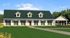 The Countrydale House Plan  THD-EIJ-5739  Stories: 1  Total Living Area: 2492 Sq. Ft.  First Floor: 2492 Sq. Ft.  Bedrooms: 4  Full Baths: 3  Width: 105 Ft. 8 In.    Depth: 48 Ft. 8 In. Porte Cochere, Ranch House Plans, Pole Barn House Plans, House Plans One Story, Southern House Plans, Country Style House Plans, Pole Barn Homes, Story House, Floor Plan 4 Bedroom