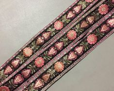 Vintage Brocade Ribbon with Paisley Floral Pattern, Made in France, Hot Pink, Purple, Raspberry and Lilac, Mauve, Pink Purple, Black Backgrounds, Hot Pink, Raspberry, Paisley, Weaving, Ribbon
