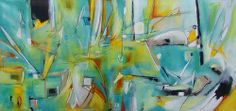 Artwork painting contemporary modern abstract painting green yellow blue orange | Flickr - Photo Sharing!