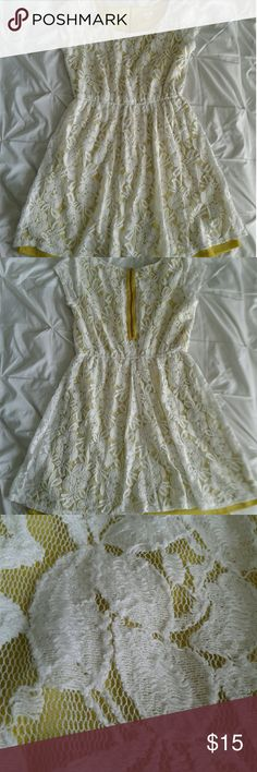 Lace dress Women's very gently pre loved great condition mustard dress with white ace overlay size medium. Back zipper closure. Thanks for looking!! Xhilaration Dresses