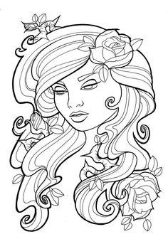 nouveau roses lines by koyasan deviantart - Body Art Tattoo Designs Coloring Book