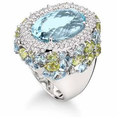 Brumani Sissi Ring in 18K white gold with round diamonds, aquamarine and peridot