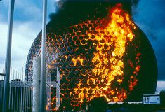 American Pavilion on fire at Montreal World's Fair 1967, designed by Buckminster Fuller